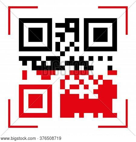 Qr Code Scan Icons. Use The Qr Button With The Red Line Scan Icon Template. Vector Qr Code Sample Fo