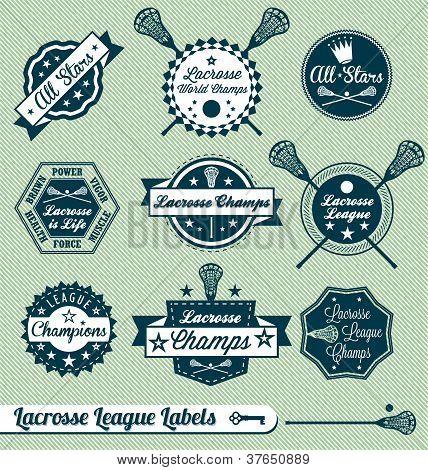 Vektor-Satz: Vintage-Stil-Lacrosse-Aufkleber und Etiketten