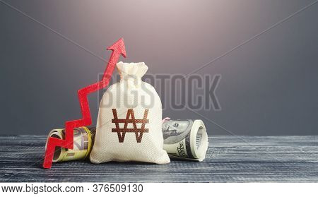 South Korean Won Money Bag And Red Arrow Up. Growth Of Economy And Increase Of Investment Attractive