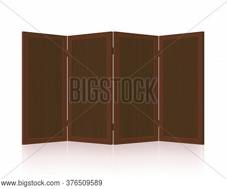 Folding Screen, Dark Wooden Room Divider, Partition - Foldable, Vintage, Rustic, Retro Four-part Int