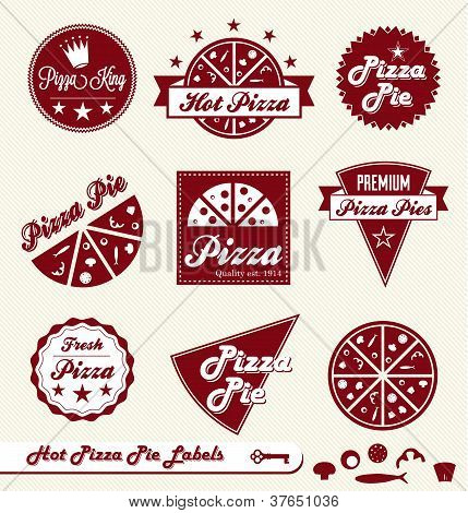 Vector Set: Vintage Pizza Place Labels and Stickers