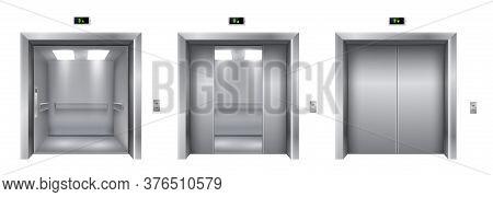 Elevator Or Lift With Open, Semi-open, Closed Doors Realistic Set. Hallway, Lobby Interior Design El