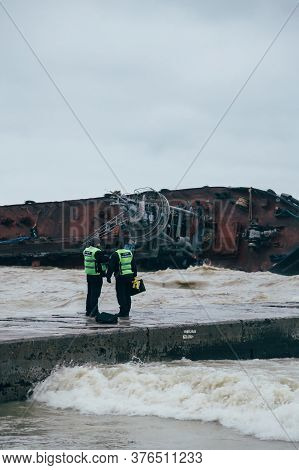 Odessa, Ukraine - November, 22 2019: A Shipwreck Of A Tanker Delfi At The Black Sea Coast. Police Is