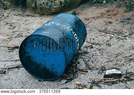 Odessa, Ukraine - November, 22 2019: A Fuel Can, Canister With Oil At The Beach - The Consequences O