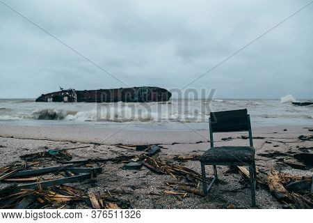 Odessa, Ukraine - November, 22 2019: The Consequences Of The Shipwreck Disaster Of The Tanker Delfi