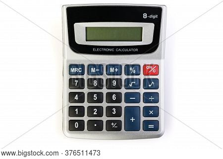 Silver Calculator Isolated On A White Background . Silver-black Calculator On A White Background.