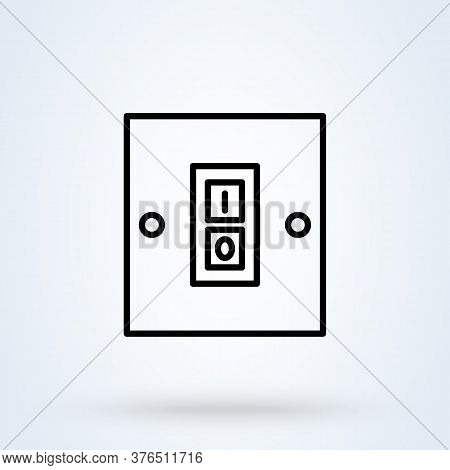 Electric Switch. Line And Linear Icon. Switch Single Icon In Cartoon Style Vector Symbol Stock Illus