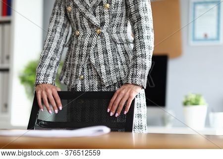 Close-up Of Businesswoman With Nice Manicure. Lady Touching Office Chair. Worker In Modern Cabinet.