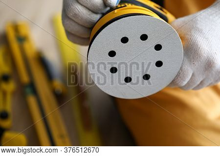 Surface Sander Machine, Construction Equipment. Repair And Construction Work Carpenter. Tool For Pol