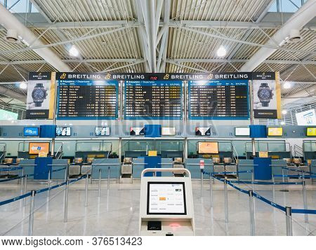 Athens, Greece - February, 11 2020: Athens International Airport Eleftherios Venizelos. An Empty Dep