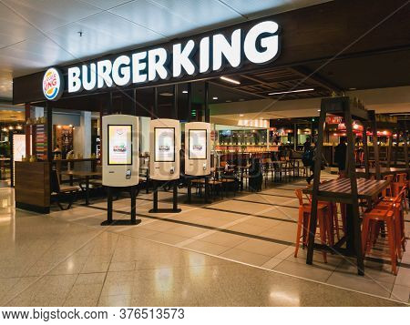 Athens, Greece - February, 11 2020: An Empty Burger King Restaurant Inside The Departure Hall Of Ath