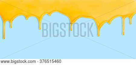 Bee Honey Dripping From The Upper Border, On Blue Seamless Background. Natural Honey Drip Flowing. Y