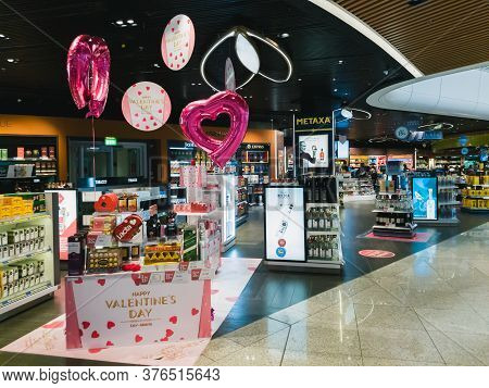 Athens, Greece - February, 11 2020: Hellenic Duty Free Shops Area With Valentines Day Decoration In