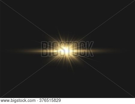 Yellow Glowing Light Explodes On A Black Background. Sparkling Magical Dust Particles. Bright Star.