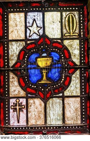 San Antonio, Texas - October 8, 2019 Communion Cup Goblet Stained Glass Saint Mary's Catholic Church