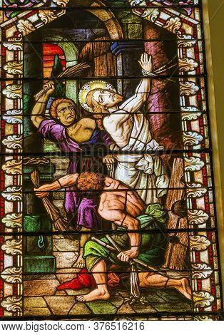 San Antonio, Texas - October 8, 2019 Jesus Christ Whipped Prior Crucifixion Stained Glass Saint Mary