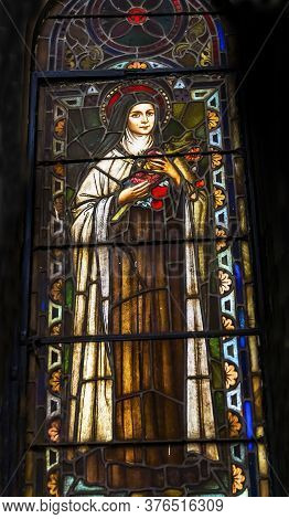 San Antonio, Texas - October 8, 2019 Saint Teresa Of Avila Stained Glass Saint Mary's Catholic Churc