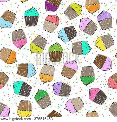 Stylized Seamless Pattern With Muffin And Cherry For Texture, Textiles, Packaging And Background
