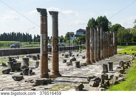 The Panoramic View Of The Roman Forum Of Aquileia, The Ancient Main Square Of The City Center Of Rom