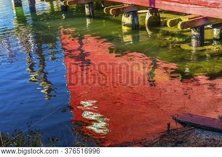 Red Blue Green Water Reflection Abstract La Conner Washiington