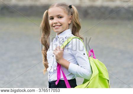Smart Is Great.. Back To School. Child In Uniform Carry School Bag. Concept Of Education. Developmen