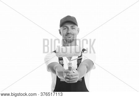 Color Man. Man Painter Decorator Isolated On White. Handy Man Hold Paint Roller. Work Man Wear Worki