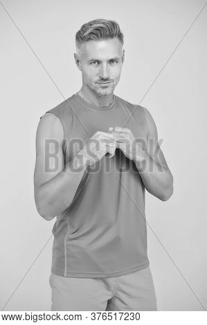 Turn Fat Into Fit. Fit Man Blue Background. Fit Athlete In Boxer Position. Strong Sportsman In Fitne