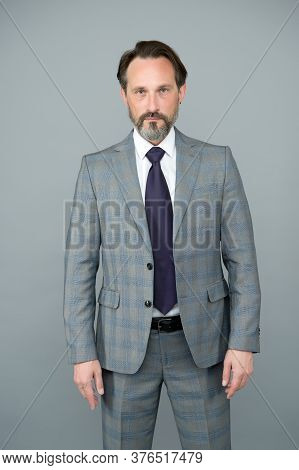 Trendy Wardrobe Perfect For His Style. Mature Man In Formal Style. Stylish Lawyer Grey Background. B