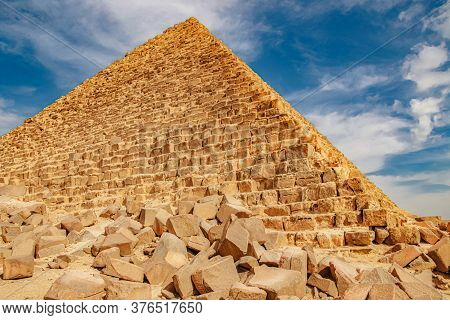 Ancient Pyramid Of Mycerinus, Menkaur In Giza, Egypt