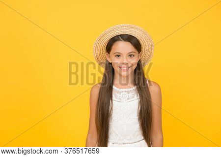 Adorable Little Girl Wearing Elegant Hat. Have Funny Summer Holiday. Vacation Mood. Tropical Tour. S
