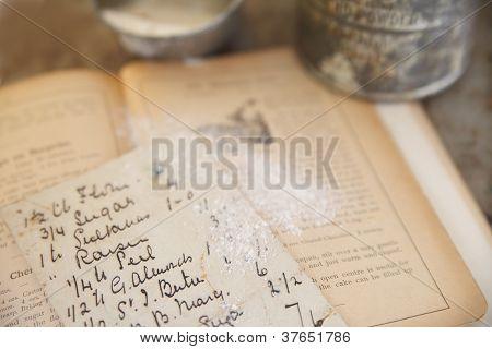 vintage cookbook with handwritten recipe