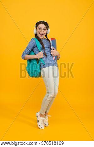 Goal Of Changing Public Education. Regular School Day. Stylish Schoolgirl. Girl Little Carry Backpac