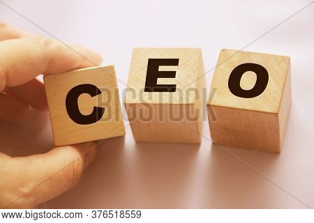 Ceo On Wooden Cubes.chief Executive Officer. Business Management Concept.