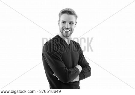 Friendly Young Expertise. Dressed In Jumper Isolated On White. Male Beauty Portrait. Charming Handso