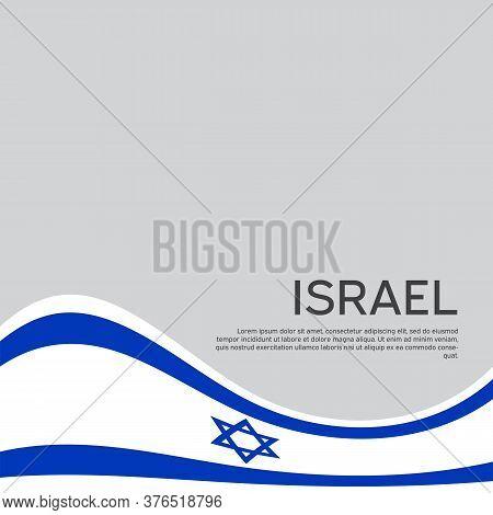 Israel Flag Background. Israel Wavy Flag On A White Background. National Poster. State Israeli Patri