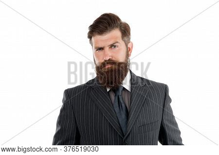 Business Man Wear Suit. Serious Bearded Man. Boss Or Director. Handsome Hipster White Background. Me