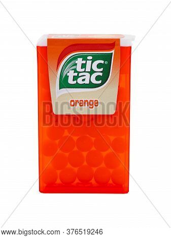 Bucharest, Romania - April 1, 2017. Tic Tac Orange, Used To Refresh The Mouth, Cooling Breath And Gi