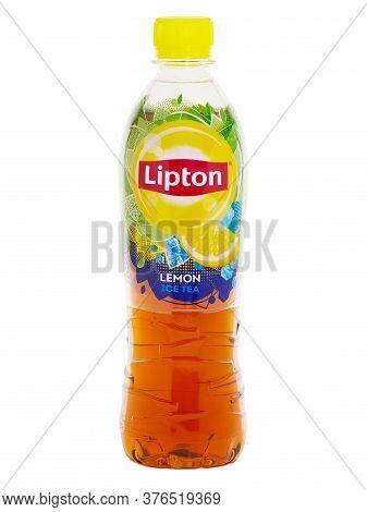 Bucharest, Romania - May 24, 2015. Bottle Of Lipton Ice Tea Lemon Isolated On White. Lipton Is A Bra