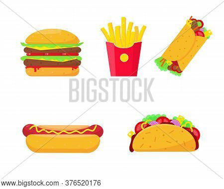 Fast Food Set Vector Illustration On White Background. Burger, Fries Potato, Hot Dog, Burrito And Ta