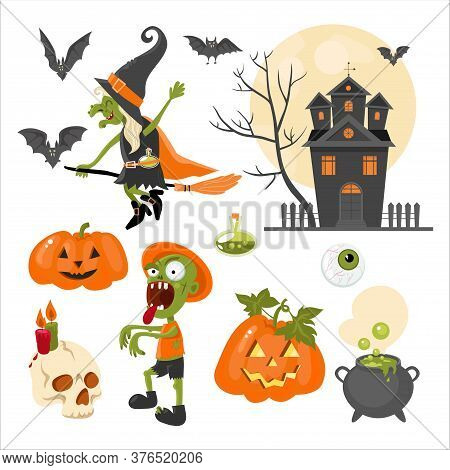 A Set Of Clipart On The Theme Of The Holiday Halloween. Bright. Flat Design. Image Of A Witch, Zombi