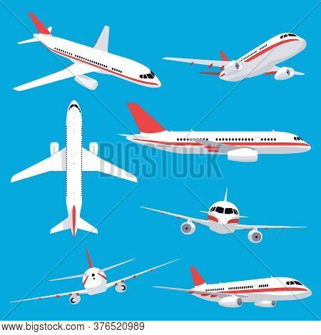 Aircraft Transport. Passenger Flight Jet Airplane, Aviation Vehicles, Flying Airline Airplanes Isola