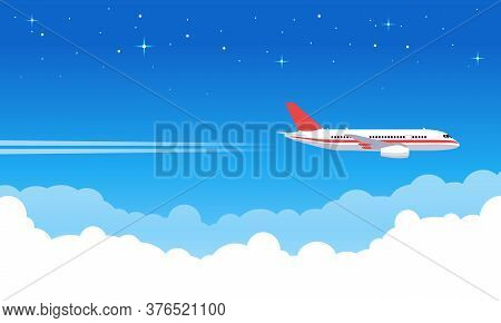 Sky Aircraft. Airplane Flying In Blue Sky, Flight Jet Aircraft In Clouds, Airliner Vacation Or Trans