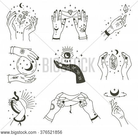 Magical Hands. Boho Occult Magic Hand, Witch Mystical Symbol, Witchcraft Hand Drawn Arms With Moon A