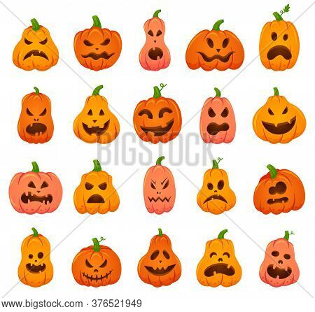 Creepy Halloween Pumpkins. Cartoon Orange Pumpkin Traditional Holiday Decoration, Scary, Spooky Face