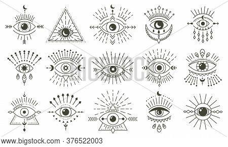 Evil Doodle Eye. Hand Drawn Magic Witchcraft Eye Talisman, Magical Esoteric Eyes, Religion Sacred Ge
