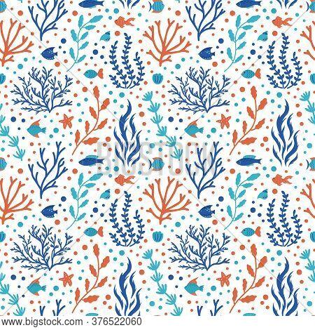 Ocean Coral Pattern. Underwater Doodle Seamless Pattern, Marine Ocean Tropical Reef Flora, Corals An