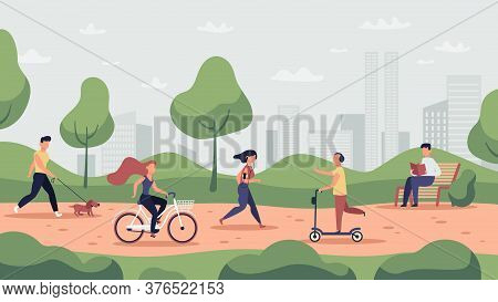 Park Activities. Outdoor Sport Workout And Healthy Lifestyle, People Running, Riding Bicycle And Jog