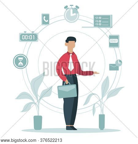 Time Management Concept. Businessman Planning Work Tasks, Timing Schedule, Business Worker Surrounde