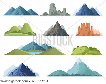 Rocky Mountains. Mountain Tops Outdoor Landscape, Winter Peaks, Hilltop With Trees, Hiking Mountain