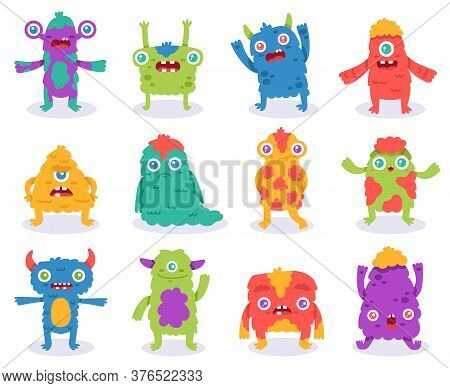 Cute Monsters. Halloween Cartoon Monsters Characters, Funny Fluffy Creature, Gremlin Or Alien, Spook